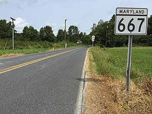 Maryland Route 667 - View east along MD 667 at MD 413 in Hopewell