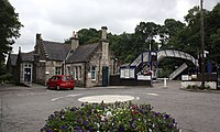 2018 at Pitlochry station - forecourt.JPG