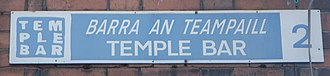 Temple Bar, Dublin - Street sign from Temple Bar