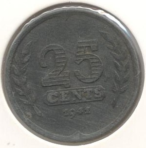 25 cents (World War II Dutch coin) - Image: 25 cent 1941(zink) voor 300