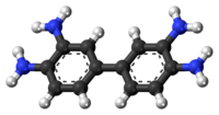 Ball-and-stick model of the 3,3'-diaminobenzidine molecule