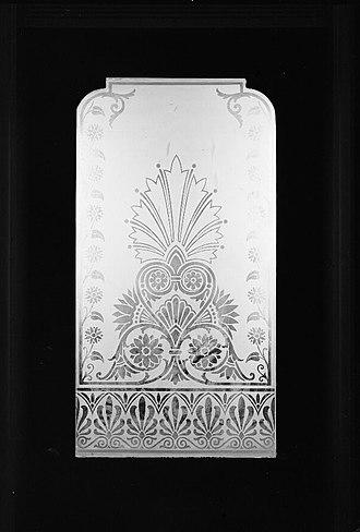Glass etching - Image: 30. INTERIOR, MODEL HALL, DOOR