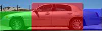 The 3-box design, indicative of a notchback sedan, as illustrated on a full-size luxury sedan.