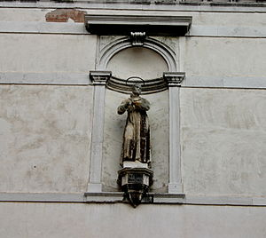 Statue of saint Paschal Baylon, on the facade ...