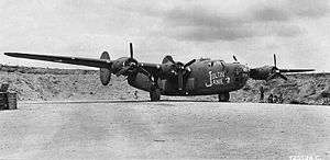 "403d Bombardment Squadron - ""Joltin' Janie"" B-24D-30-CO Liberator 42-40065 Shown parked in a revetment at Dobodura Airfield on Papua,New Guinea on June 11, 1943. Aircraft was lost on December 9, 1943, when it crashed into the sea after take-off for a mission."