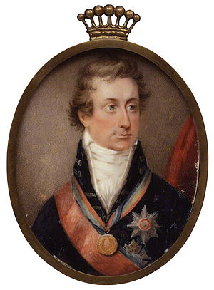 Percy Smythe, 6th Viscount Strangford - The 6th Viscount Strangford in a miniature by William Haines, c. 1808.