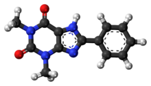 Ball-and-stick model of the 8-phenyltheophylline molecule