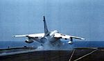 A-7E of VA-81 launching from USS Forrestal (CV-59) 1981.jpg