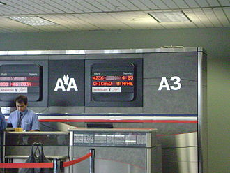 Cleveland Hopkins International Airport - An American Eagle counter at gate A3 in concourse A.