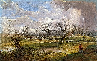 Hellesdon - A Fine Day in February (Hellesdon) (undated) by John Middleton (Norfolk Museums Collections).