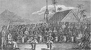 Kuakini - Sketch from William Ellis of Kuakini welcoming visitors with a Hula dance ceremony