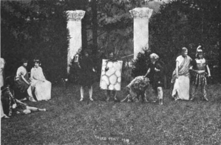 An outdoor production of A Midsummer Night's Dream in 1914 A Midsummer Nights Dream, Vassar Philaletheis Society, May 1914.PNG