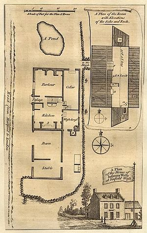 "Elizabeth Canning -  ""A Plan of the house of Susanna Wells at Enfield Wash"" from The London Magazine, 1754"