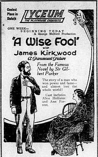 <i>A Wise Fool</i> 1921 film by George Melford