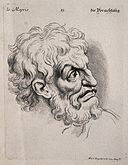 A bearded man expressing scorn. Engraving by M. Engelbrecht Wellcome V0009356