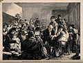 A dispensary in the East End of London; crowds of local chil Wellcome V0016513.jpg