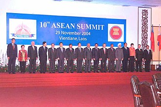 ASEAN Summit - A group photograph of all heads of states and governments at the 10th ASEAN Summit in Vientiane, Laos on November 29, 2004