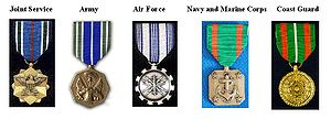 Achievement Medal - Five different versions of the Achievement Medal are awarded: one for Joint Service, Army, Air Force, Navy and Marine Corps, and the Coast Guard