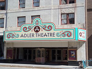 Mississippi Lofts and Adler Theatre - The marquee for the Adler Theatre that was added in 2010.