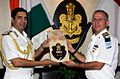 Adm RK Dhowan exchanging a memento with VAdm Ram Rutberg at IHQ MoD, New Delhi.JPG