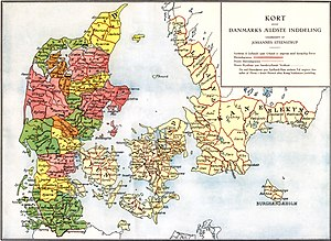 "Danes (Germanic tribe) - The extent of the Danish Realm before the expansion of the Viking Age. It is not known when, but the tribal Danes divided the realm into ""herreder"" (marked by red lines)."
