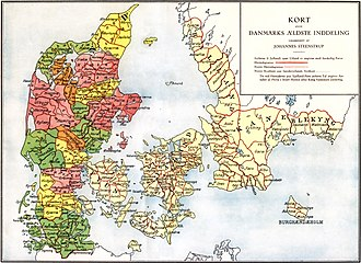 "History of Denmark - The extent of the Danish Realm before the expansion of the Viking Age. It is not known when, but the tribal Danes divided the realm into ""herreder"" (marked by red lines)."