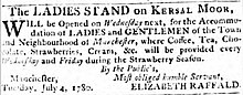 "Advert that reads ""The Ladies Stand on Kersal Moor will be opened on Wednesday next week, dated 4 July 1780"""