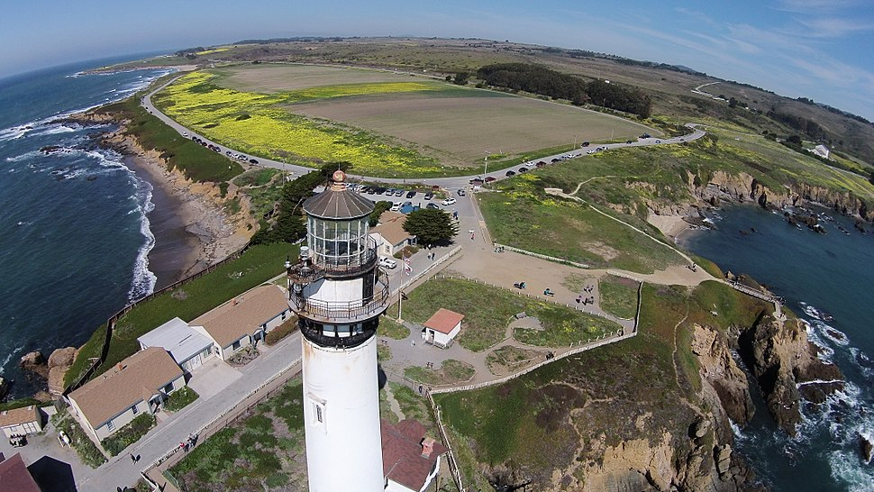 Aerial View of Pigeon Point lighthouse and surrounding coastline