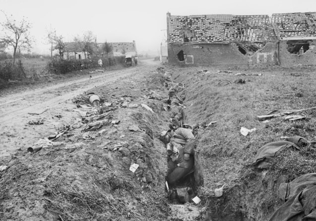 Aftermath of the fighting at Montbrehain October 1918 (AWM image E03779)