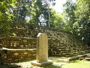 Aguateca - The main plaza of Aguateca showing a large stone stela