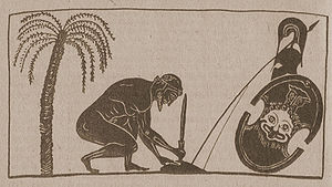 Murder–suicide - Ajax, son of Telamon, preparing suicide. Reproduction from a black-figure amphora depiction by Exekias (550–525 BC).