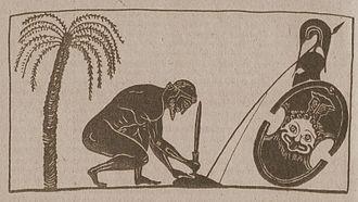 Murder–suicide - Ajax, son of Telamon, preparing suicide. Reproduction from a black-figure amphora depiction by Exekias (550–525 BC).