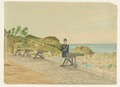 Akvarell-Den svenska kolonin Saint Barthélemy. Utsikt från fortet Gustaf med kanoner och soldat - Sjöhistoriska museet - SB 1495-1.tif