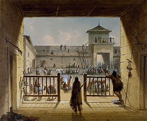Fort Laramie National Historic Site - Interior of the original Fort Laramie as it looked prior to 1840. Painting from memory by Alfred Jacob Miller.