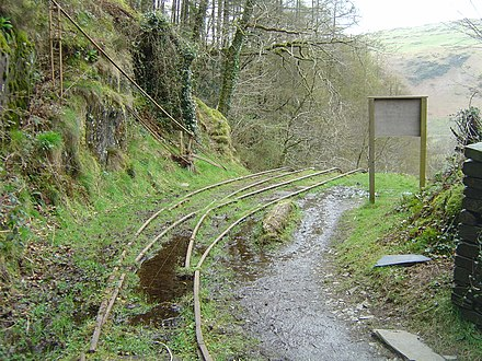 The head of the Alltwyllt incline at the end of the Nant Gwernol extension in 2008 Alltwyllt incline - 2008-03-18.jpg