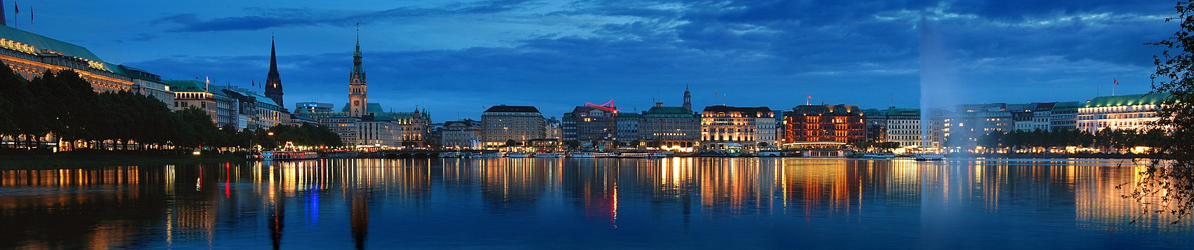 The Binnenalster at night