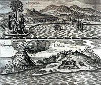 The Dutch and English enclaves at Amboyna (top) and Banda (bottom). 1655 engraving.
