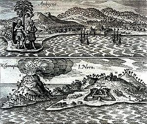 Steven van der Hagen - Dutch fortifications and English tradeposts on the bare and volcanic Ambon and Banda-Neira (1655) with the still-active volcano Gunung Api (658m) to the left