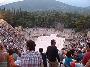 The ancient theatre of Epidaurus is nowadays u...