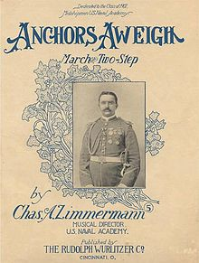"The original sheet music cover for ""Anchors Aweigh""."