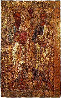 Ancient icon of sts peter & paul