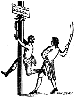 Jacob Johan Anckarström - Drawing of Anckarström being flogged