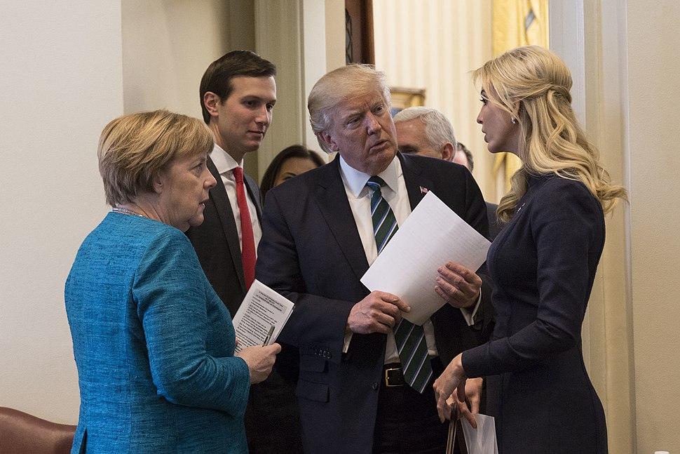Angela Merkel, Jared Kushner, Donald Trump and Ivanka Trump, March 2017