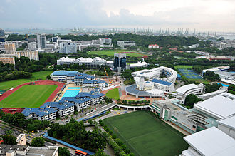 Anglo-Chinese School (Independent) - Aerial view of the school, before the construction of the new apartment-styled boarding block: (from left to right) sports complex, boarding school, original main building, IB block