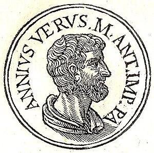 """Marcus Annius Verus (praetor) - Marcus Annius Verus from """"Promptuarii Iconum Insigniorum"""""""