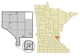 Anoka Cnty Minnesota Incorporated and Unincorporated areas Hilltop Highlighted.png