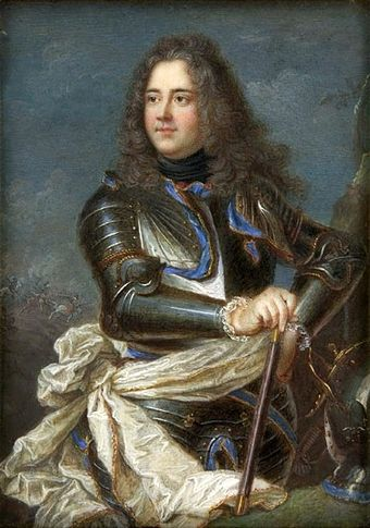 Miniature of Duc de Belle-Isle, after a painting by Hyacinthe Rigaud, depicted as commander during the War of the Spanish Succession (National Museum in Warsaw). Anonymous Duc de Belle-Isle.jpg
