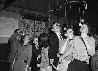 Soul cake - Apple-bobbing at Ditherington Hallowe'en party (1950)