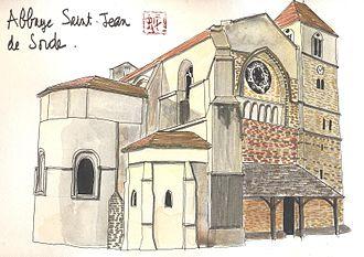 Sorde-l'Abbaye - Watercolour of the abbey of Saint-Jean.
