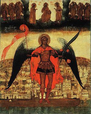 Arkhangelsk - Icon of Archangel Michael, shown as protector of Arkhangelsk